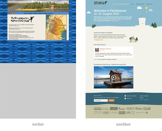 Flottkalaset Webseite im Vorher-Nachher-Vergleich