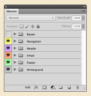 Photoshop-Ebenen mit Farben